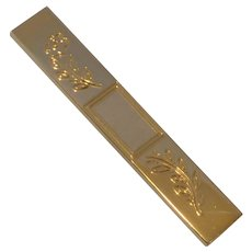 Gold Tone Etched Flower with Initial Plate Tie Bar
