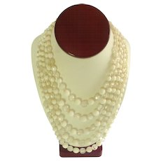 Multi Strand White and Opaque Beaded Necklace