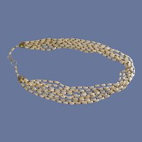 White Faux Pearl Oblong Beads 7 Strand Necklace