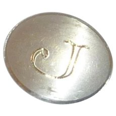 Skinny Bar Tie Initial J Silver Tone