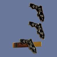 Florida State Silver Tone Cufflinks / Tie Clip Cuff Links