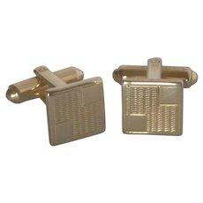 Small Gold Tone Square Cufflinks Cuff Links