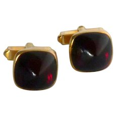 Gold Tone Red Cabochon Faux Stone Cufflinks Cuff Links