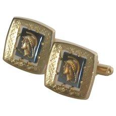 Intaglio Anson Gold Tone Black Roman Warrior Cufflinks Cuff Links
