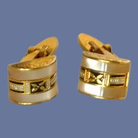 Damascene Mother of Pearl Hinged Cuff Links Cufflinks