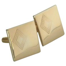 Swank Gold Tone Square Cuff Links Cufflinks