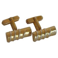 Swank Silver Tone and Gold Tone  Cylinder Cuff Links Cufflinks