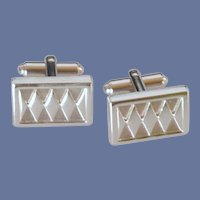 Speidel Silver Tone Rectangle Cuff Links Cufflinks