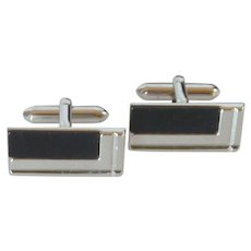 Swank Rectangle Silver Tone and Black Cuff Links Cufflinks