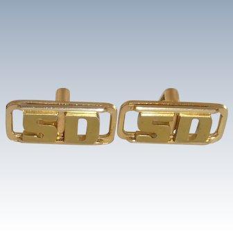 Swank Initials SD Gold Tone Cuff Links Cufflinks