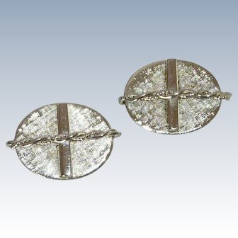 Silver Tone Oval Cuff Links Cufflinks with a Cross  Design