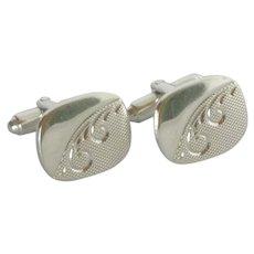 Silver Tone Rectangular Scroll Design Cufflink Cuff Links