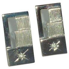 Silver Tone Rectangular Diamond Rhinestone Cufflinks Cuff Links