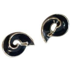 Black Enamel and Silver Tone Swirl Pierced Earrings
