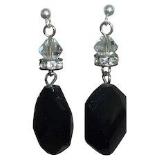 Pierced Black Faceted Glass Dangle Earrings