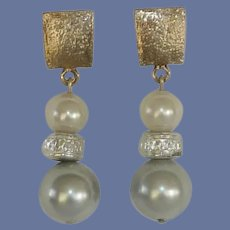 White and Grey Faux Pearl Post Pierced Earrings