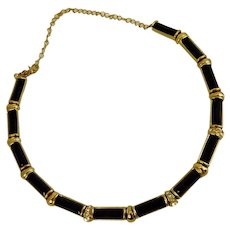 Black and Gold Tone Choker Necklace