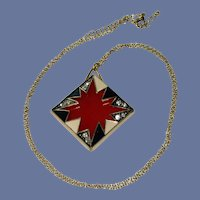 """""""Pow"""" Sign Rhinestone Red, White and Black Necklace"""
