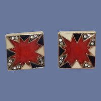 """""""POW"""" Sign Rhinestone Red, White and Black Pierced Earrings"""