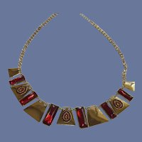 Gold Tone and Red Statement Necklace
