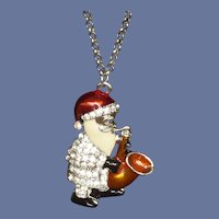 Cute Santa Clause Pendant Necklace Playing Saxophone