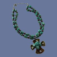 Double Strand Turquoise Rock Bead Necklace with Cross
