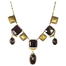 Purple Beveled Glass Amethyst Gold Tone Necklace