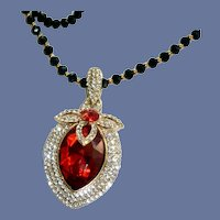 Black Crystal Beads with Red Large Glass Pendant