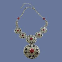 Red & Black Medallion Silver Tone Statement Necklace
