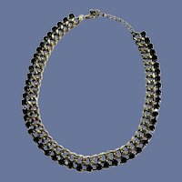 Silver Tone Choker Chain with Black Crystal Beads