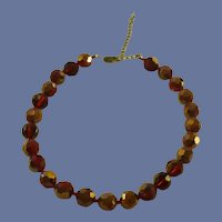 Red Faceted Glass Large Bead Choker Necklace