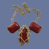 Statement Gold Tone Red Diamond Rhinestone Necklace