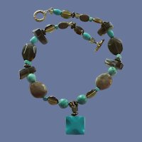 Faux Turquoise, Brown and Clear Beaded Necklace