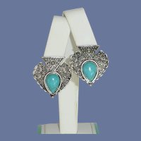 Turquoise and Silver Tone Pierced Earrings