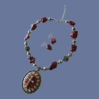 Medallion Cross Chunky Dark Red Nugget Stone Necklace with Earrings