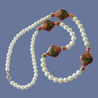 Faux Pearl and Red Lacquered Beads Necklace