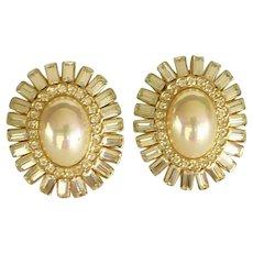 Large Faux Pearl Pierced Earrings with Rhinestones