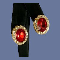 Small Red Faceted Glass Diamond Rhinestone Clip-on Earrings