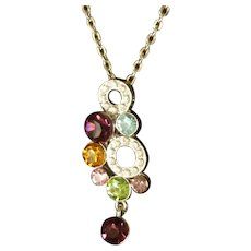 Silver Tone Chain Necklace with Multicolored Rhinestone Pendant