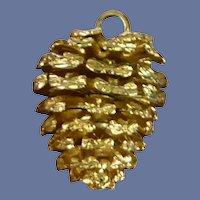 Gold Tone Pine Cone Pendant