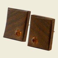 Wood Like with Topaz Colored Rhinestone Cufflinks Cuff Links