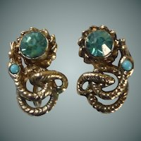 Gold Tone Screw Type Aqua Rhinestone Earrings