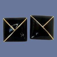 St. John Square Black Enameled Gold-Plated Clip On Earrings