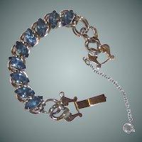 Sky Blue Rhinestone Silver Toned Bracelet Vintage