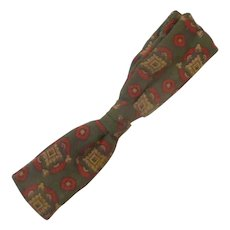 """1950 """"Royal"""" Green with Red Accents Clip On Bow Tie"""