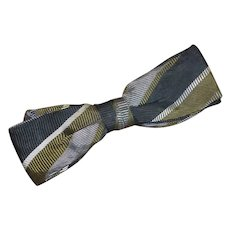 "Vintage 1960 ""Royal""  Green Black Grey Clip On Bow Tie"