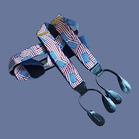 American USA Red White and Blue Flag Dress Pant Braces