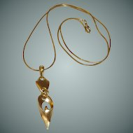 Large Drop Pendant Gold Tone Snake Rope Necklace