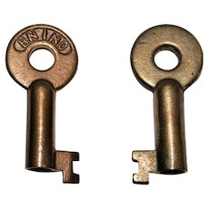 Vintage BN INC Hollow Barrel Brass Key, Railroadiana