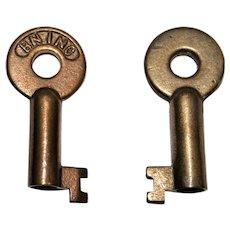 Vintage BN INC Hollow Barrel Brass Key, Railroadiana